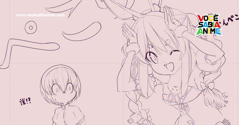 Diretor de Jashin-chan desenha Pekora com Pekora